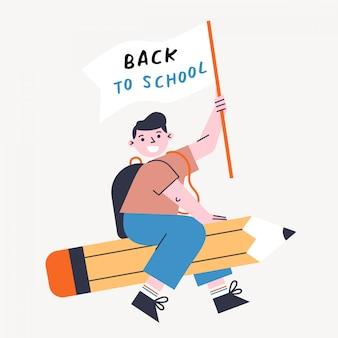Torna a scuola illustrazione vettoriale con bambino e matita. ragazzo che tiene bandiera e che vola sulla penna.