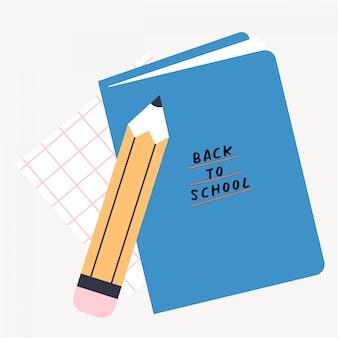 Torna a scuola illustrazione vettoriale con matita e libro, materiale scolastico. illustrazione variopinta di design piatto.