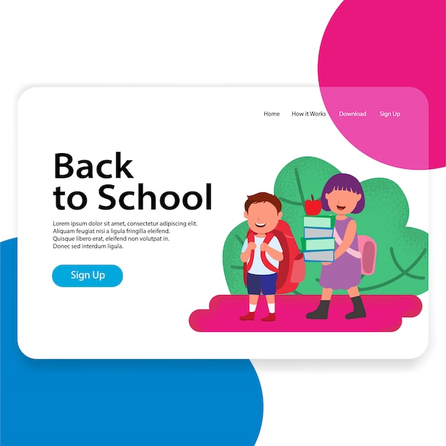 Torna a scuola landing page web illustration