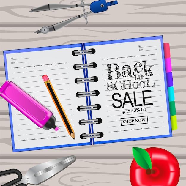 Torna a scuola modello di vendita sul notebook e legno