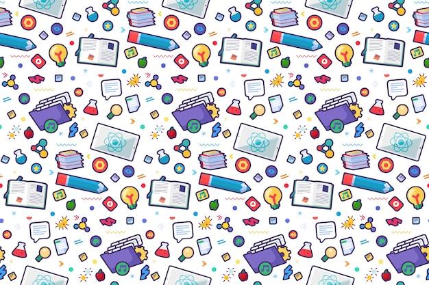Torna a scuola picchiettio senza soluzione di continuità con strumenti doodle: penna, libri aperti, libri di testo e icone della scienza.