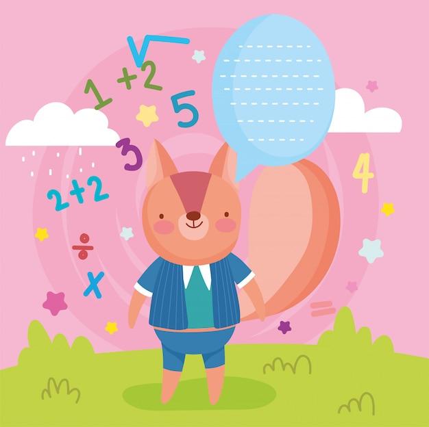 Torna a scuola scoiattolo carino parlare bolla numeri educazione