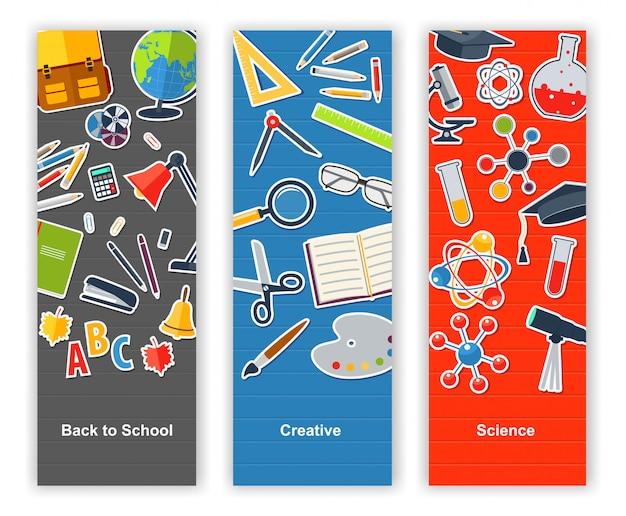 Torna a scuola set di banner. educazione, creatività, scienza
