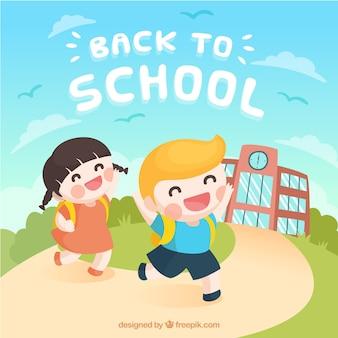 Torna a scuola sfondo con bambini felici