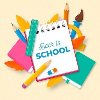 Torna a scuola sfondo con elementi essenziali