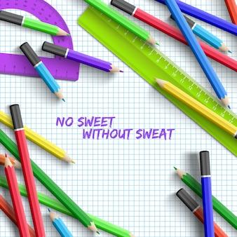 Torna a scuola sfondo con materiale scolastico colorato