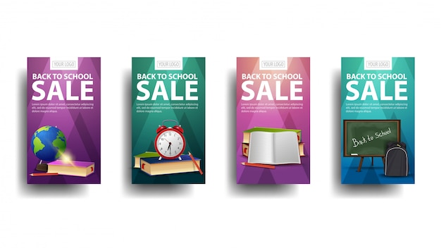Torna a vendita a scuola, banner sconto collezione con un globo, lavagna, zaino, libri e sveglia