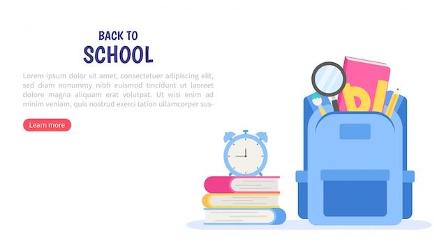 Torna al banner della scuola. carta, poster e modello degli articoli di istruzione