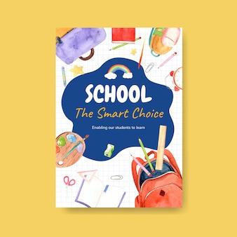 Torna al concetto di scuola e istruzione con modello di poster.