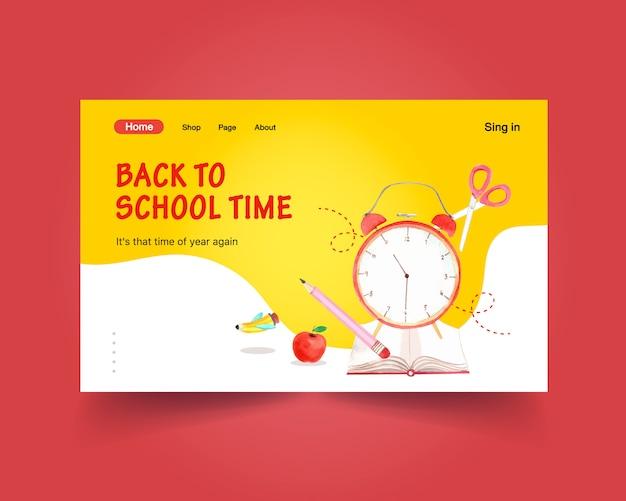 Torna al concetto di scuola e istruzione con modello di sito web per la pubblicità online e acquerello di internet