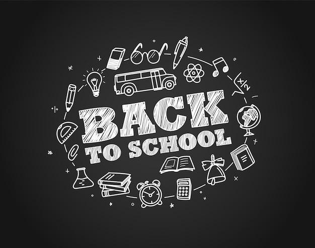 Torna al concetto di scuola. elementi disegnati a mano gesso su schooldesk