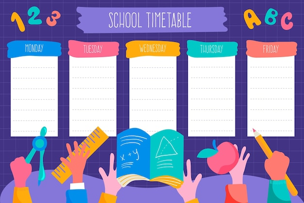 Torna al modello di orario scolastico disegnato a mano