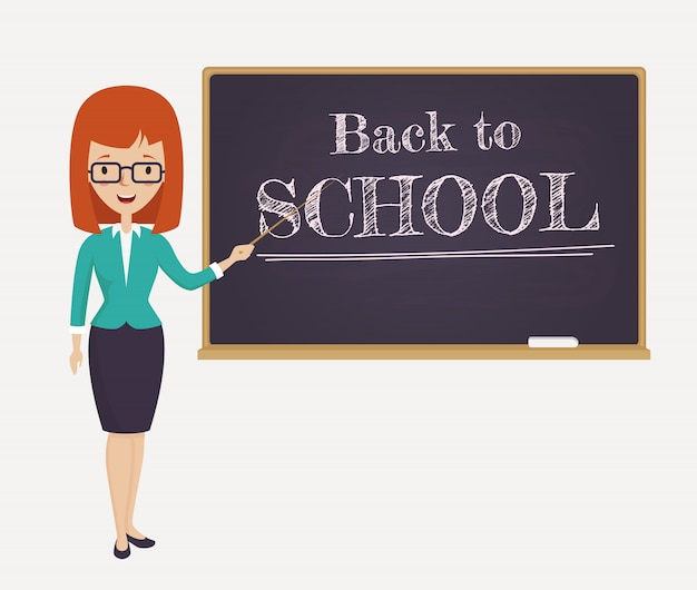 Torna alla carta di scuola con un giovane insegnante.