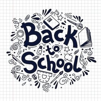 Torna alla composizione del cerchio della scuola su sfondo plaid. illustrazione di stile di doodle.