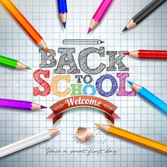 Torna alla frase di scuola con matita colorata e lettera tipografia sul libretto griglia quadrata