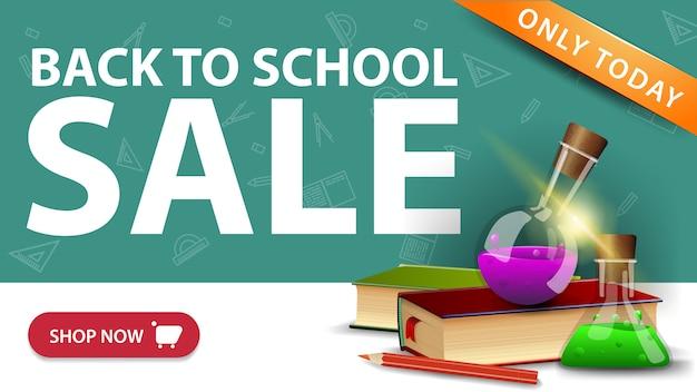 Torna alla vendita della scuola, banner sconto moderno con pulsante, libri e boccette chimiche