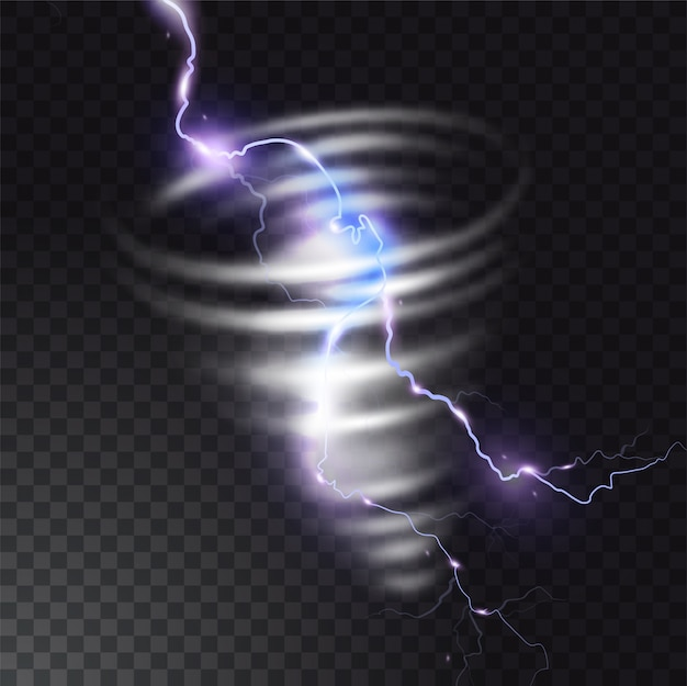 Tornado con l'illustrazione del lampo del lampo realistico di colpo di fulmine nell'uragano del tornado. vortice del ciclone del vento in tempo di tempesta.