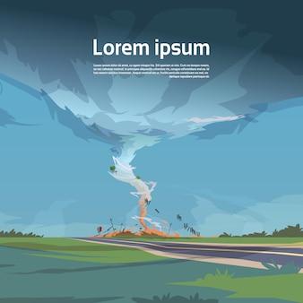 Tornado nel paesaggio di uragano della campagna del concetto di disastro naturale del tornado nel campo di tromba d'acqua di tempesta