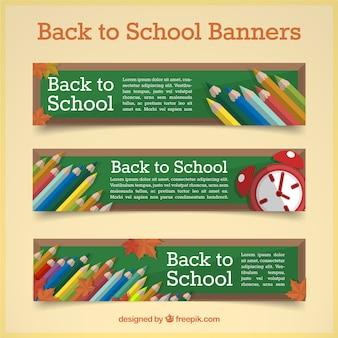 Tornare a scuola con matite set banner