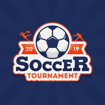 Torneo di calcio 2019 testo con pallone da calcio