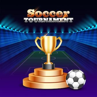 Torneo di calcio. illustrazione dorata del trofeo e del pallone da calcio del campione sullo stadio