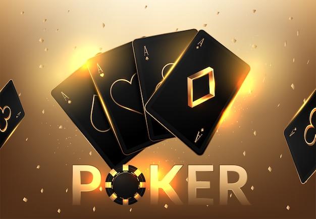 Torneo di gioco del casinò con carte da gioco realistiche e fiches del casinò