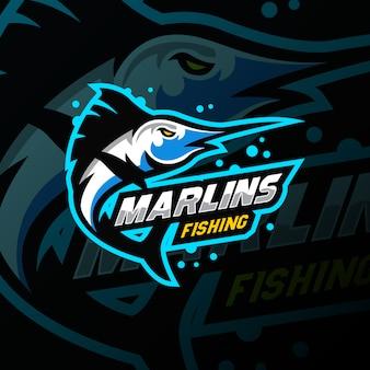 Torneo di gioco sportivo logo mascotte marlin