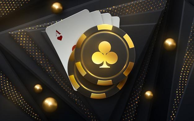 Torneo di poker. illustrazione. quattro carte da gioco con gettoni da gioco su sfondo nero con luccichio luccicante.
