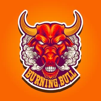 Toro bruciante dell'illustrazione con il logo della mascotte del fumo