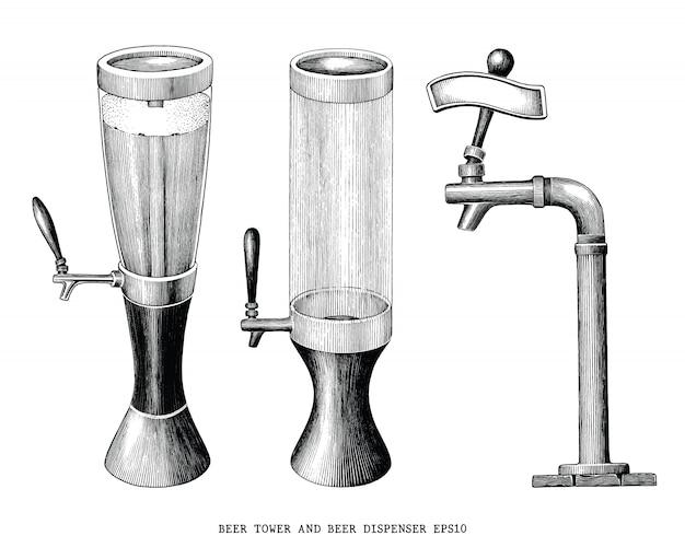 Torre della birra e stile vintage incisione di tiraggio della mano dell'erogatore della birra isolato su fondo bianco