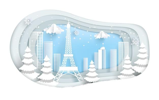 Torre eifel e città in inverno. disegno di arte di carta.