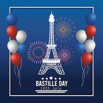 Torre eiffel con palloncini e decorazione di fuochi d'artificio