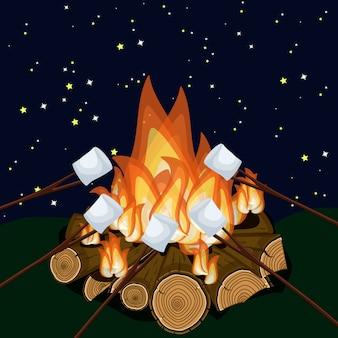 Torrefazione marshmallow sul fuoco di accampamento di notte.