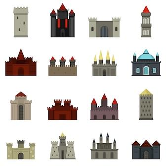 Torri e icone di castelli impostato in stile piano