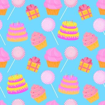 Torta, caramelle, regalo. modello senza cuciture di dolci per il compleanno dei bambini