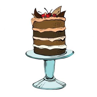 Torta celebrazione disegnata a mano. colori l'illustrazione di vettore di una torta di cioccolato con la ciliegia su una priorità bassa bianca