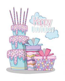 Torta con candele e regali per buon compleanno