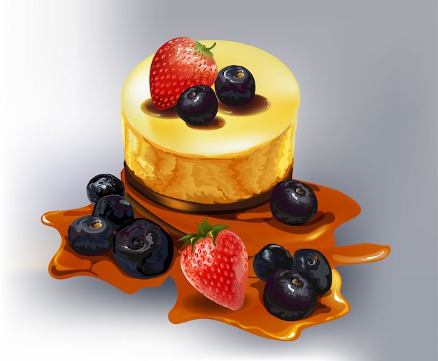 Torta con frutta, mora, fragola