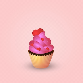 Torta, crema rosa, cuori.