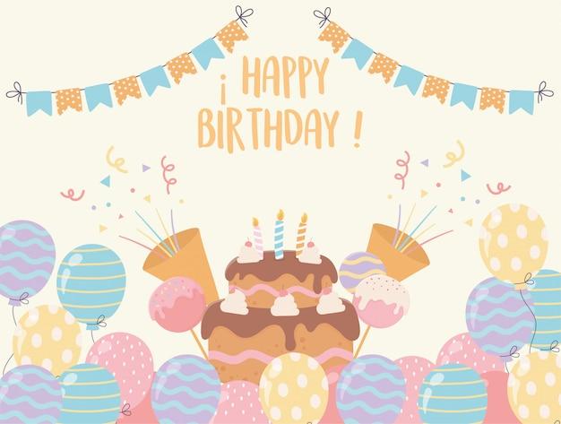 Torta di buon compleanno con candele palloncini caramelle coriandoli decorazione festa