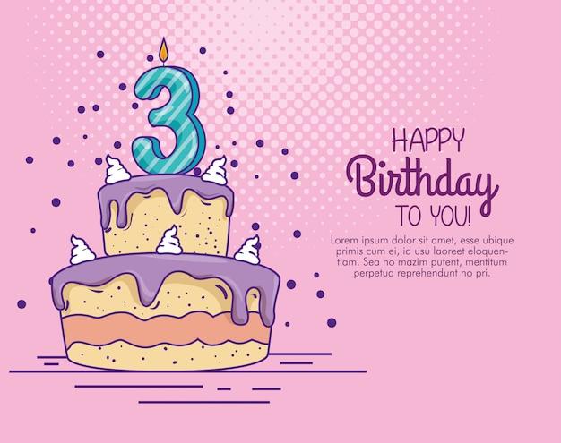 Torta di compleanno con decorazione candela numero tre