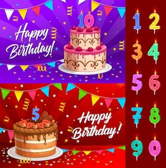 Torta di compleanno con la cartolina d'auguri numerata delle candele