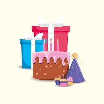 Torta di compleanno con scatole regalo e icona cappello da festa su sfondo bianco