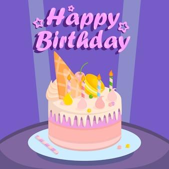 Torta di compleanno per la festa su sfondo viola.