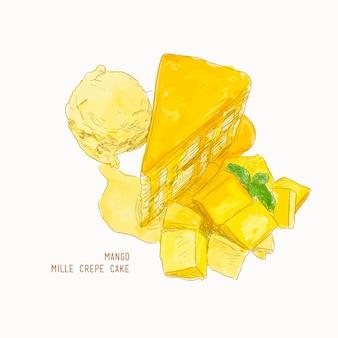 Torta di crepe di mango mille