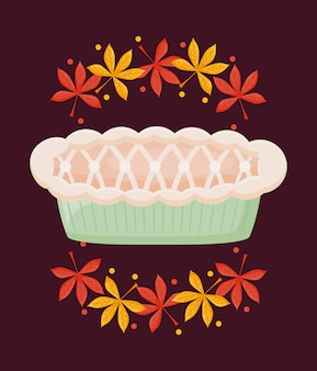 Torta di mele del giorno del ringraziamento con foglie