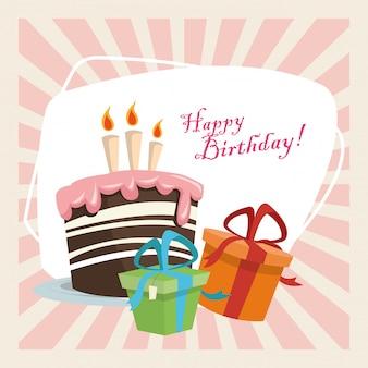 Torta dolce festa di buon compleanno celebrazione con candele e scatole regalo