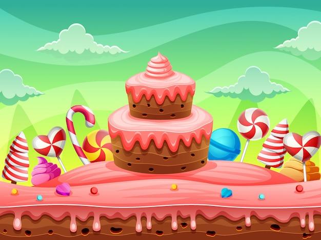 Torta e caramelle della terra dolce del mondo di fantasia