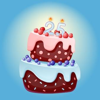 Torta festiva del fumetto sveglio di compleanno di 25 anni con la candela numero venticinque. biscotto al cioccolato con frutti di bosco, ciliegie e mirtilli
