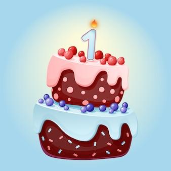 Torta festiva di compleanno del fumetto sveglio di un anno con una candela.